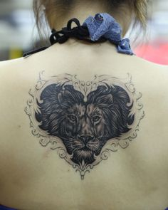 #lion #tattoo heart gray