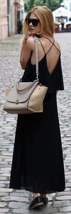 Choies Black Flowy Criss Cross Strappy Back Maxi Dress by Czech Chicks