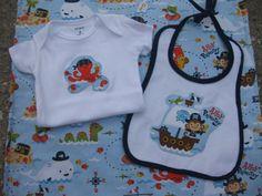 Pirate baby gift set  onesie bib blanket ahoy by OliveStreetStudio