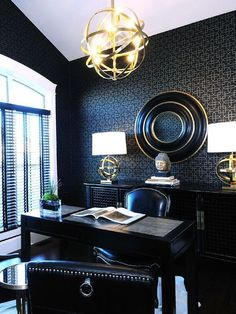 Modern Home Office Design With Cool Wallpaper: