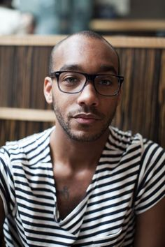 Marcus Allen in Warby Parker Holt Frames striped t shirt fashion men tumblr Style streetstyle New york beard