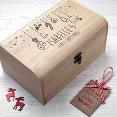 Baby's First Christmas Eve Wooden Small Chest Box