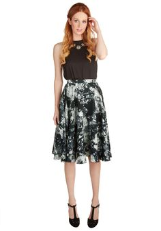 Ikebana for All Skirt in Crystals. Shape, line, and form unfold fashionably as you drift past delicate gemstone displays in this lusciously smooth, black A-line skirt from Bea  Dot, available exclusively at ModCloth. #black #modcloth