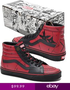 Authentic Vans x Marvel Deadpool Red & Black High Top Old Skool Shoes Skate Shoes, Men's Shoes, Marvel Shoes, Custom Vans Shoes, Rare Vans, Shoe Image, Casual Wear For Men, Black High Tops, Painted Shoes