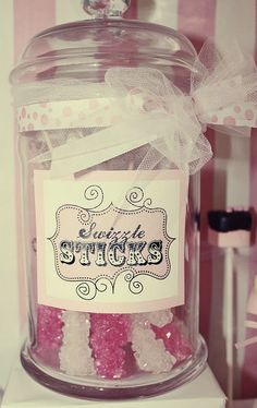 love the label and the ribbon as much as the pretty candy Candy Labels, Candy Jars, Candy Buffet, Cream Candy, Ice Cream, Rock Star Party, Lollipop Candy, Pink Parties, Theme Parties