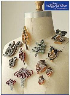Zipper Jewelry PATTERN Woodland Zips by Indygo Junction This pattern includes instructions for 11 designs: Big Acorn Brooch, 2 Little Acorn Pins or Earrings, Baby Squirrel, Adult Squirrel, Oak Leaf, Big Fall Leaf, Little Fall Leaf,ig Wild Mushroom, Tiny Wild Mushroom, Cutie Owl