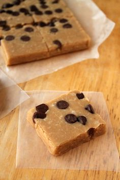 Wilde in the Kitchen: Cookie Dough Fudge  - use coconut cream, soy or coconut milk, Smart Balance Flaxseed Oil butter and non dairy choc chips