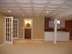 Basement - drop ceiling tiles - Stratford White Ceiling Tiles & A Finishing Basement Reconstruction to Increase Your Home Value (DIY ...