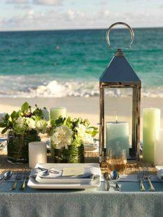 beach wedding table in shades of aqua, light blue and soft lime green with pretty lantern and candles Beach Wedding Tables, Beach Wedding Centerpieces, Wedding Table Settings, Wedding Decorations, Wedding Ideas, Beach Weddings, Lantern Centerpieces, Centerpiece Ideas, Wedding Reception