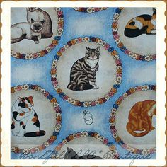 BonEful Fabric FQ Cotton VTG Applique Large Quilt Circle Flower Kitty Cat Breed Cat Fabric, Fascinator, Baby Items, Applique, Quilts, Blanket, Cats, Pattern, Shopping