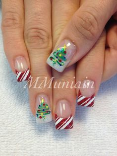 The trees look pretty easy and so do the stripes for the candy cane nails!!