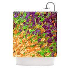 "Ebi Emporium ""Follow the Current III"" Orange Green Shower Curtain - KESS InHouse"