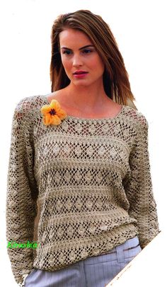 Пуловер кимоно с узорными полосами  Wish I could read Rusian - this top is beautiful!