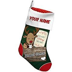 Christmas Stocking Basset Hound, Dog Breed Deer with Green