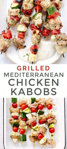 BOMB grilled chicken kabobs with a Greek flair. The magically delicious skewers are loaded up with chicken, vegetables, halloumi and tahini-yogurt sauce. Yummy Chicken Recipes, Easy Healthy Recipes, Yummy Food, Delicious Recipes, Quick Chicken Curry, Grilled Chicken Kabobs, Pollo Chicken, Mediterranean Chicken, Yogurt Sauce