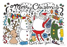 """""""hand drawn christmas characters elements"""" by Chris olivier Framed Prints, Canvas Prints, Art Prints, Christmas Characters, Christmas Illustration, Royalty Free Images, Wall Tapestry, Decorative Throw Pillows, Art Boards"""