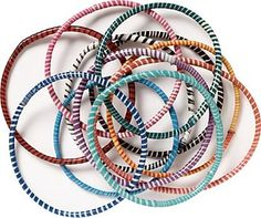 Flip Flop Bracelets | These bangle style bracelets are made from recycled flip flop materials by a fair trade company in South Africa. Reminiscent of the jelly bracelets from the 80's, they look great stacked up. Colors will vary by order. | Paper Source