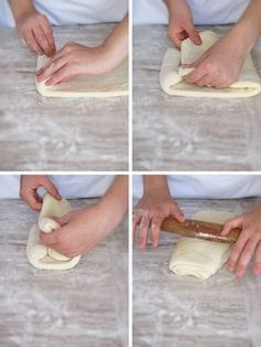A book turn or second turn of puff pastry or croissant dough Homemade Croissants, Recipe For Croissants, Making Croissants, Chocolate Croissants, Homemade Breads, French Croissant, Croissant Dough, Bread Recipes, Cooking Recipes