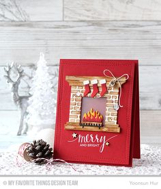 Fireplace Die-namics, Hand Lettered Holiday Stamp Set, Wonky Stitched Rectangle STAX Die-namics, English Brick Wall Stencil - Yoonsun Hur  #mftstamps