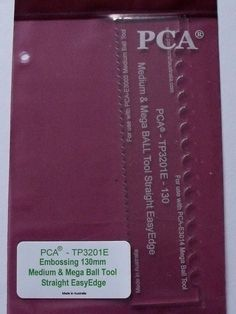 PCA EMBOSSING TEMPLATE (3201E) 130mm MEDIUM AND MEGA BALL TOOL STRAIGHT EASY EDGE  Clear plastic template manufactured to fit the PCA® Medium Ball & Mega Ball Embossing tools. If you have trouble trying to make a straight or angled line of embossed dots, then use this template to solve your problem.  Hold your ball tool in an upright position and twist back and forth like drilling while pressing downwards.
