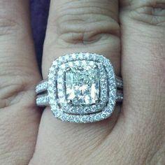 Cushion cut double halo engagement ring. Stunning.