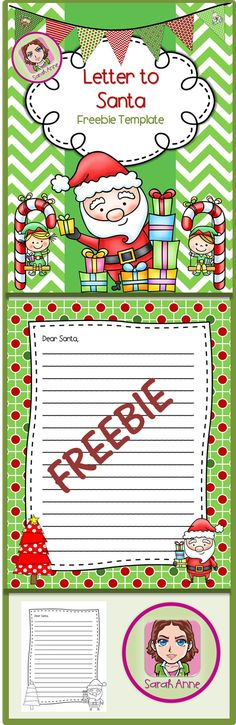 FREEBIE! Happy Holidays :) Letter for Santa Template Printable. Color and B/W Version. Happy Writing and Happy Holidays! Sarah Anne :) #LetterToSanta #Santa #Holidays #Christmas #Santa #Letter #free #freebie #tpt #sarahanne