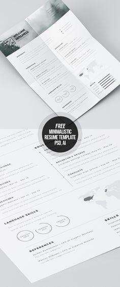 Free Minimalistic CvResume Templates With Cover Letter Template