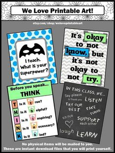 Back to School Teacher Classroom Rules: You will receive 4 printable posters for the beginning of the school year or any time of year. They make wonderful, inexpensive gifts for teachers.
