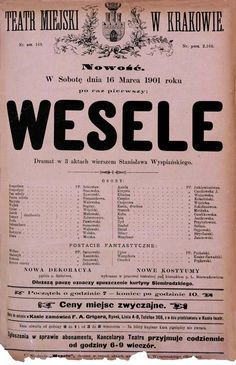 Theatre poster to Wesele's preview (1901)