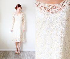Vintage wedding dress crochet bohemian lace floral knit on Etsy, $315.00