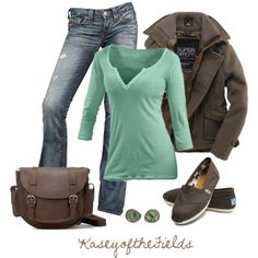 """Brown and Sea Glass"" by kaseyofthefields on Polyvore"