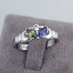 Personalized Engrave Birthstone Ring 925 Sterling Silver Infinity #Claddagh Ring Best Valentine's Day Gift