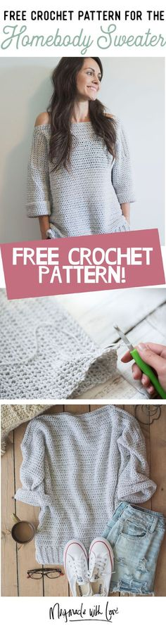 Homebody Sweater, free Crochet Pattern. Megmade with Love.