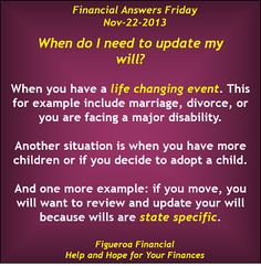 Welcome to Financial Answers Friday (Nov-22-2013)! The topic today: when to update your #will.