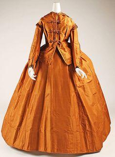 Orange silk visiting dress with self-trim (front), American, 1865-1875