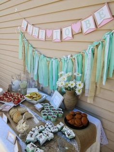 Ideas For Simple Bridal Shower Invitations Dessert Tables Simple Bridal Shower, White Bridal Shower, Bridal Shower Tables, Bridal Shower Centerpieces, Bridal Shower Rustic, Bridal Shower Gifts, Backyard Bridal Showers, Summer Bridal Showers, Wedding Showers