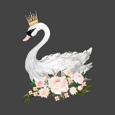 Swan with Roses in Grey fabric by shopcabin on Spoonflower - custom fabric