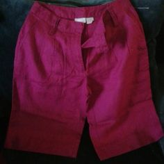 Berry Wine casual shorts Spiegel shorts in berry wine color. Light material almost sheer. Modest length that is safe for the office or meetings or travel. There is a front zipper, button and clasp for closure and belt loops for YOUR stylish belt.  No rips, tears, or holes. NWOT spiegel  Shorts