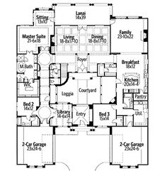 Exciting Courtyard Mediterranean Home Plan Plan 16826WG 6,804 HEATED S.F.  5 BEDS  6 BATHS  2 FLOORS  4 CAR GARAGE About this Plan A stunning courtyard sits in the center of this beautiful Mediterranean home plan. A gated entry leads you through the courtyard to the main entrance of the home with views of the huge coffered living/dining room beyond. The gourmet kitchen has a massive island that will give you plenty of workspace as well as views of the nook and family room. Truly a wonderful…