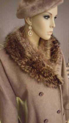 Ladies 1950's  Wool Coat With Genuine Fur by EmmasGraceVintage