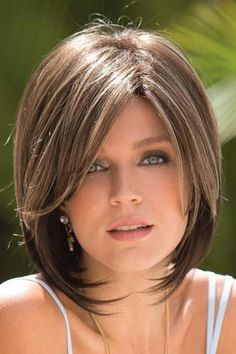 Layered Long Bob with Deep Side Part Get Thin Hair to Look Thicker Tousled Angled Bob Shoulder-Length Blunt Cut Long Angled Bob or Lob Cute Bob Haircuts, Asymmetrical Bob Haircuts, Layered Bob Hairstyles, Pretty Hairstyles, Hairstyles Videos, Updo Hairstyle, Bride Hairstyles, Bobs For Thin Hair, Wavy Bobs