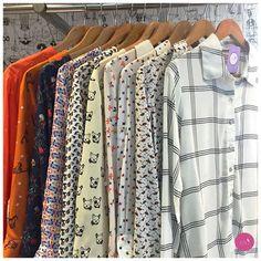 Cachorro, passarinho, xadrez, esquilo, guarda-chuva... Camisas de estampas lindas! #Vemprazas