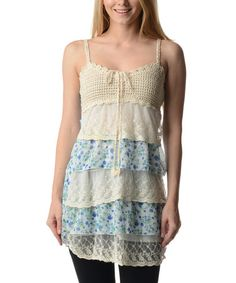 Love this Blue Floral Lace Tier Tank by Style NY on #zulily! #zulilyfinds