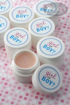 Something to put in a thank-you bag. Chapstick with pink or blue.