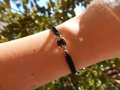 Black Crystal Macrame Bracelet - Teardrop Crystal in Black with Gold details - Unique Present for Women - Mother's Day Gift Christmas Gift Sets, Handmade Christmas Gifts, Christmas Gifts For Women, Macrame Bracelets, Handmade Bracelets, Silver Bracelets, Presents For Women, Unique Presents, Evil Eye Charm