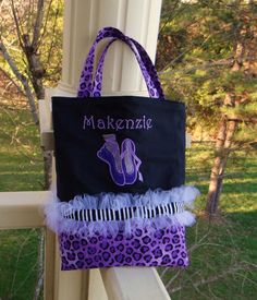 Personalized Dance Tote Bag with ballet applique by MimisWhimsey, $28.00