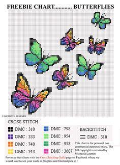 butterflies cross stitch patterns free download - Google Search