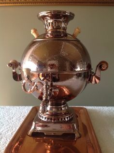 VINTAGE RUSSIAN ELECTRIC COPPER SAMOVAR / TEA URN FROM TULA WITH TRAY NOT USED