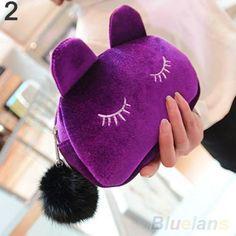 Cute Cat Makeup Flannel Pouch
