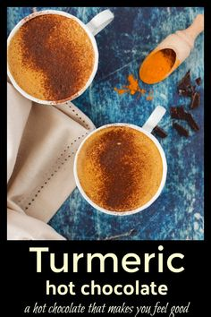 A healthy hot chocolate loaded with all the superfoods needed to give your body a little boost. Unsweetened dark cacao, cinnamon and turmeric combine with a tiny pinch of black pepper to help the body absorb the turmeric. It is creamy, frothy and comforting; a hot chocolate that will make you feel good.  #turmeric #chocolate #hotchocolate #superfoods via @wholefoodbellies